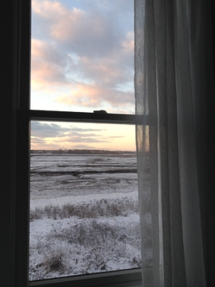 My Studio Today_View from my window_sunrise_winter on cape cod 02-04-2014